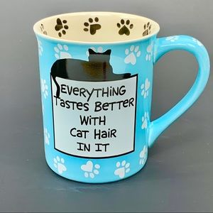 Teal blue cat mug